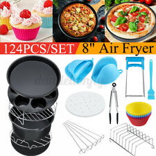 "124Pcs 8"" Air Fryer Accessories Cake Basket Pizza Plate Grill For 3.7-6.8Qt"