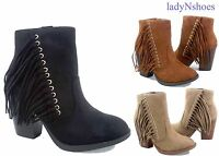 Soda NEW  Chunky High Heel Fringe Zip Almond Toe Ankle Booties Size 5.5 - 10