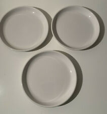 """CRATE & BARREL White Porcelain 8 ¼"""" Salad Plates Set of 3 Stackable with Edge"""