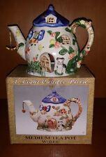 Ceramic Tea Light Candle Holder Medium Villa Tea Pot w/Hanging Bee, Multi-Color