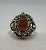 925 Sterling Silver Oval Natural Rose Quartz Bali Poison Ring Size 9 Indonesia