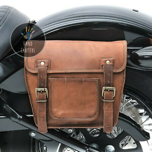 Pair Handmade Leather Saddle Bag Brown Panniers Tool Pouch Luggage Two Side Bag