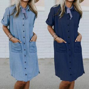 UK Womens Oversize Casual Demin Buttons Down Baggy Pockets Long Shirt Midi Dress