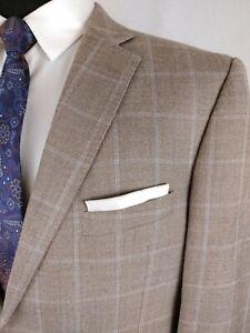 Black Saks 5th Ave Mens 44R Blue Windowpane Silk Wool Blazer Sport Coat Jacket