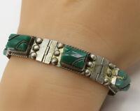 MEXICO 925 Sterling Silver - Green Jade Gemstone Rope Detail Bracelet - B1836