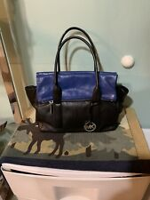 Michael Kors Tippi Black And Sapphire Blue Large Leather Handbag EUC Hardly Used