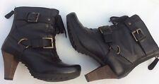 Clarks Softwear Uk4 Black Leather Ankle Boots Casual Winter Biker Block Heel