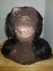 Sharper Image 2005 Wowwee Alive Chimpanzee Animatronic Head+Remote/A C Adaptor
