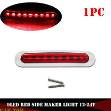 1x 9LED Red Sealed SMD Clearance Side Marker Light Car Trailer Truck Chrome Ring