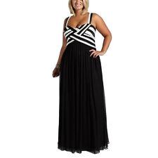 2017 Women Plus Size Black White High Waist Summer Evening Prom Long Maxi Dress