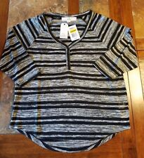 Pink Republic - Black/Gray Stripe Henley - Size L Juniors 3/4 Sleeve