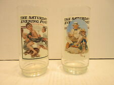 2 Saturday Evening Post 16 oz Drinking Glasses No Swimming Catching The Big One