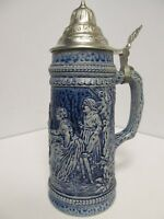 Vintage Gerz German Beer Stein w/ Lid, Cobalt Blue / White Marked W. Germany