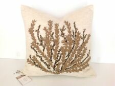 "POTTERY BARN CAICOS CORAL EMBROIDERED PILLOW COVER 18"" SOLD OUT AT PB MSRP $59"