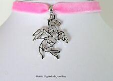 Unicorn Winged Origami Candy Pink Velvet Choker Necklace