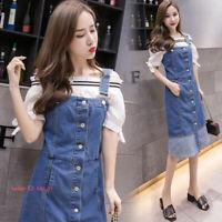 Womens Long Denim Overall Bib Dress Jean Dress Pinafore Suspender Skirt S-5XL