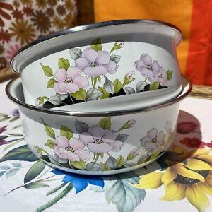 Vintage Retro 2 Round Enamel Food Bowls Floral Nesting Camping Camper Van 80s