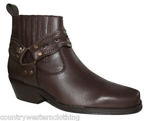 Mens New Genuine Brown Leather Western Cowboy Harness Boots - Biker / Line Dance