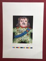 Enrico Baj, Der kleine General, Lithographie, Prägung, handsigniert
