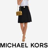 NWT $150 Michael Kors Black Pleated A-line Midi Knee Length Skirt with Belt Sz 0