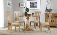 Cavendish Round Oak Dining Table and 4 Chester Chairs Set (Ivory Seat Pad)