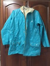 Womens Vintage Reversible Rain S Green Tan Umbrellas Vinyl Coat Hooded Slicker