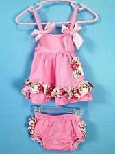 Baby 2pc summer dress & diaper cover ruffle bloomer set 6-12m pink