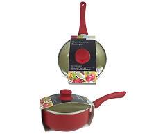 Cerámica revestido de 18cm Antiadherente Cacerola de la salsa con mango de tacto suave & Tapa De Vidrio