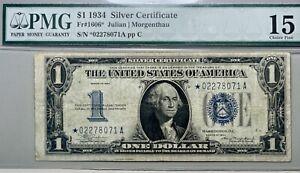 1934 $1 Silver Certificate **STAR NOTE** PMG Fine 15 FR# 1606*