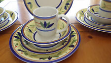 Bali Porcelain Dinnerware Set Yellow Band Blue Green leaves Service 4 15 pc set