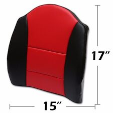 """BIG SIZE 15""""X17"""" S.LEATHER LUMBAR SUPPORT BACK CUSHION FOR ALL PURPOSE BLACK/RED"""