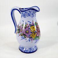 Vintage Blue Vestal Alcobaca Portugal Hand-Painted 8 Inch Floral Pitcher Vase