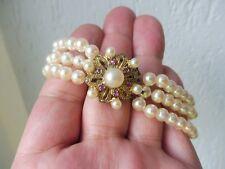 Schönes, altes Armband__3reihige Perlen__edle vergoldete 835 Silber -Schliesse
