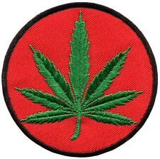 Marijuana leaf pot weed grass ganja embroidered applique iron-on patch G-38