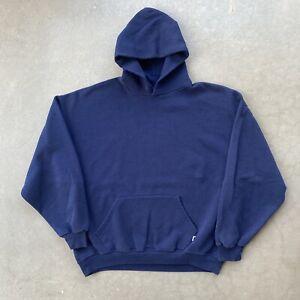 Vintage 90s Russell Athletic Hoodie Sweatshirt Size XXL Blank Navy Blue Faded