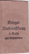 Verleihungstüte zum Kriegsverdienstkreuz 1939 zweite Klasse mit Schwertern Orig.