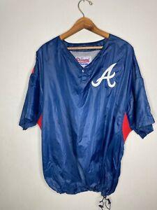 Vintage Starter Atlanta Braves Short Sleeve Windbreaker Large Blue