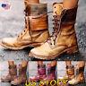 Women Lace Up Zipper Flat Mid-calf Boots Ladies Military Biker Combat Shoes Size