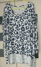 A Postcard from Brighton Beige Grey Gold Print Slouchy Top Size 12 - 16 Good Con