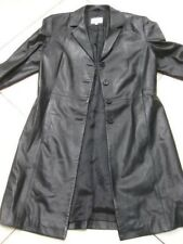 Ladies M&S black genuine leather JACKET COAT UK 14 12 blazer full length goth