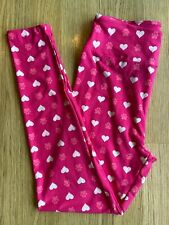 NWT LULAROE LEGGINGS OS - VALENTINE LOVE STORY-   PINK With HEARTS AND PAWS