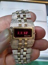 Vintage Bulova LED watch silver and 14k gold