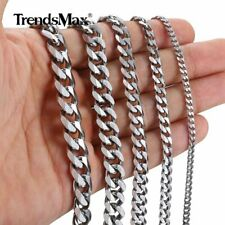 "3/5/7/9/11MM 18-36"" Stainless Steel Necklace Silver Tone Curb Cuban Link Chain"