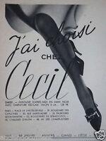PUBLICITÉ 1938 J'AI CHOISI CHEZ CECIL DAISY EN DAIM NOIR - ADVERTISING