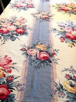 Vintage nubby BARKCLOTH Pink ROSes Blue Stripe DRAPE PANEL CURTAIN FABRIC