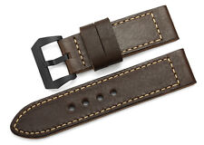 26mm Genuine Leather Wrist Strap Black PVD Tang Buckle Watch Band For Panerai