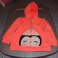 girls gymboree polar pink penguin zip up hooded sweatshirt size 6-12 mos. nwt