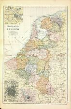Carta geografica antica OLANDA Nederland BELGIO Amsterdam Anversa 1894 Old map