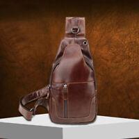 100% Genuine Leather Men's Cross Body Bag Shoulder Bag Sling Backpack for Hiking