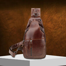 Genuine Leather Men's Cross Body Bag Shoulder Bag Sling Backpack for Hiking